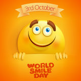 Yellow smiley face. World smile day card template Stock Image