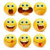 Yellow smiley faces. Emoji characters template Stock Photo