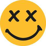 Yellow smiley with x-rated eyes. Vector vector illustration