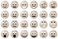 Yellow smiley set or collection, sepia color Royalty Free Stock Images