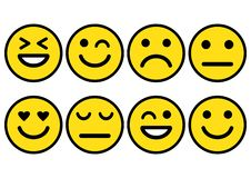 Smileys emoticons icon positive, neutral and negative, different mood. Vector illustration stock illustration