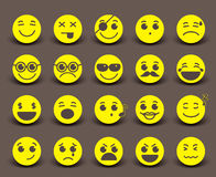 Yellow smileys faces icon and emoticons with facial expressions Stock Photography