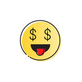 Yellow Smiling Cartoon Face People Emotion Show Tongue Icon Stock Image