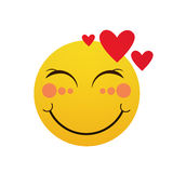 Yellow Smiling Cartoon Face Shy Positive People Emotion Icon. Flat Vector Illustration Stock Image