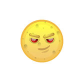 Yellow Smiling Face Cunning Negative People Emotion Icon. Flat Vector Illustration Stock Image