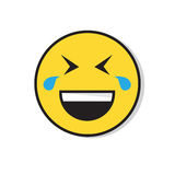 Yellow Smiling Face Laughing Positive People Emotion Icon. Flat Vector Illustration Stock Photo