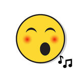 Yellow Smiling Face Singing Positive People Emotion Icon. Flat Vector Illustration Royalty Free Stock Images