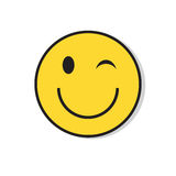 Yellow Smiling Face Wink Positive People Emotion Icon Stock Photo