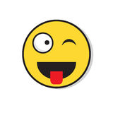 Yellow Smiling Face Wink Positive People Emotion Icon Royalty Free Stock Photography