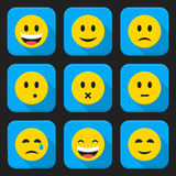 Yellow smiling faces squared app icon set Royalty Free Stock Images