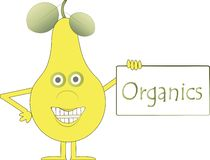 Yellow smiling pear with arms and legs, green eyes, leaves, plaque with the inscription Organics Stock Image