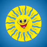 Yellow smiling sun on summer background Stock Photos