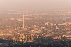 Yellow smog autumn sunset. Under Budapest city Royalty Free Stock Images