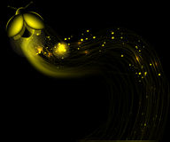 Yellow smooth lines with a glow/ night bug Royalty Free Stock Photos