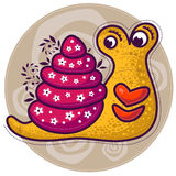 Yellow snail with big lips Stock Images