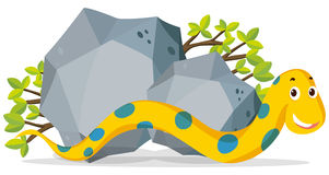 Yellow snake crawling by the stone. Illustration Stock Images