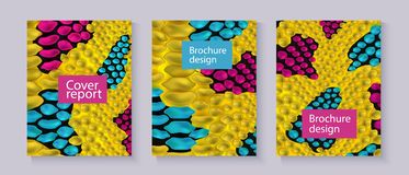 Yellow snake skin textured brochure templates set with text box realistic style. Vector illustration  on grey background. Cover design with reptile leather vector illustration