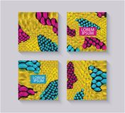Yellow snake skin textured square templates set with text box realistic style. Vector illustration  on grey background. Design with animal pattern background royalty free illustration