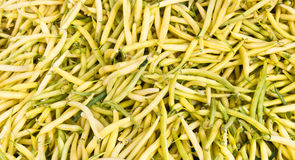 Yellow snap beans on display Stock Photos