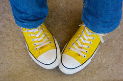 The Yellow Sneakers royalty free stock photo