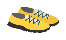 Yellow sneakers vector illustratioon. Royalty Free Stock Photography