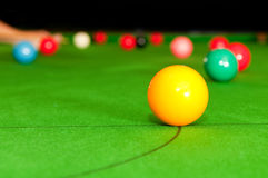 Yellow snooker ball Royalty Free Stock Images