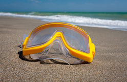 Yellow snorkeling mask Royalty Free Stock Images
