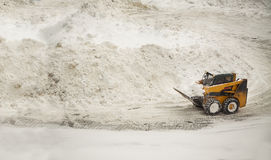 Yellow snow removing bulldozer Royalty Free Stock Photo
