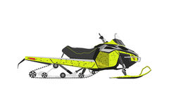 Yellow snowmobile on a white background. Transport for extreme w Stock Photography