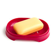 Yellow soap. On a white background Stock Photo