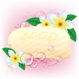 Yellow soap bar with bubbles. Royalty Free Stock Images