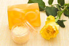Yellow soap and rose Royalty Free Stock Photos