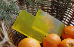 Yellow soap in a wicker basket Royalty Free Stock Images
