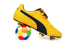 Yellow soccer footwear and col Stock Photo