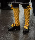 Yellow socks. With black shoes with lops Royalty Free Stock Images