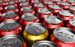 Yellow soda can standing out Royalty Free Stock Photo