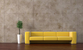 Yellow sofa. Modern yellow sofa with bonsai tree Stock Photos
