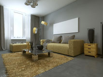 Yellow Sofa In Modern Living Room. Royalty Free Stock Photography