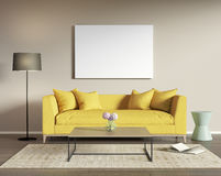 Yellow sofa in a modern living room Stock Photo