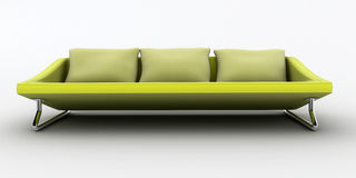 Yellow sofa on white background insula Royalty Free Stock Image