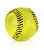 Yellow Softball. Over white background Stock Photography