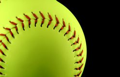Yellow Softball. With Red Stitches royalty free stock images