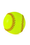 Yellow Softball. With red stitching isolated on white royalty free stock image