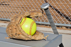Yellow Softball, Bat, and Glove Royalty Free Stock Photo