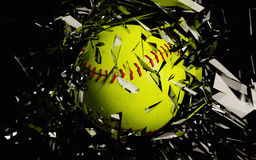 Yellow Softball Breaks Glass Close Up. A 3d render of a softball breaking glass against a black background stock illustration