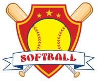 Yellow Softball Over Crossed Bats Logo Design Label Stock Images