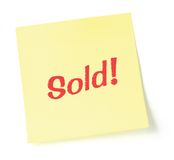 Yellow Sold Note Stock Image