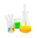 Yellow solution in flask and test tube solution Royalty Free Stock Photo