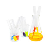Yellow solution in flask and test tube solution Stock Image