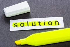 Yellow solution Stock Photos